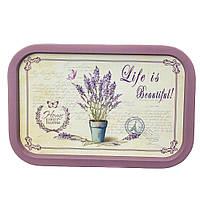 """Піднос металевий """"Life is beautiful"""" (34х24х2 см.), фото 1"""