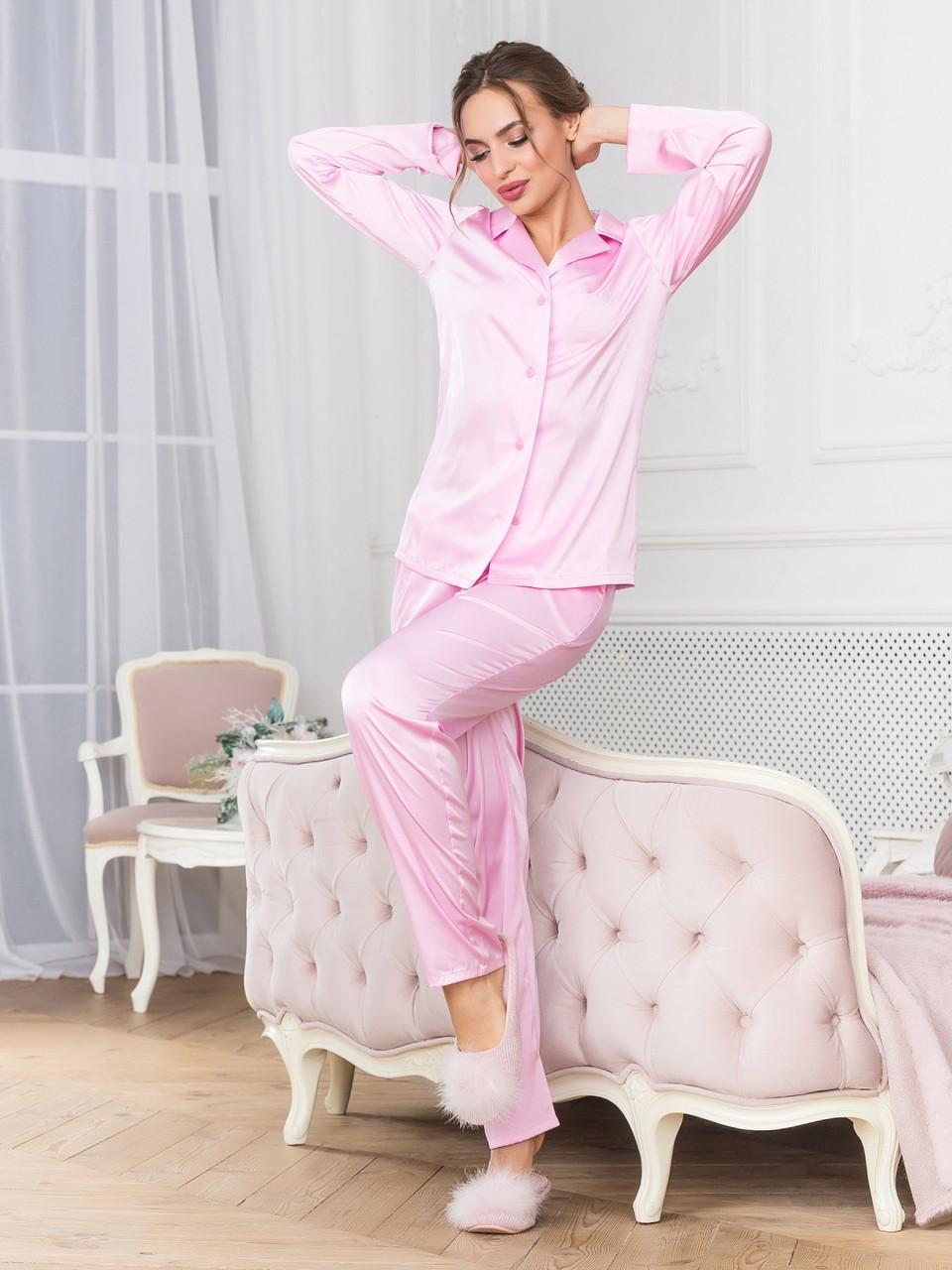 Шелковый комплект для сна с брюками розовый