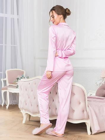 Шелковый комплект для сна с брюками розовый, фото 2