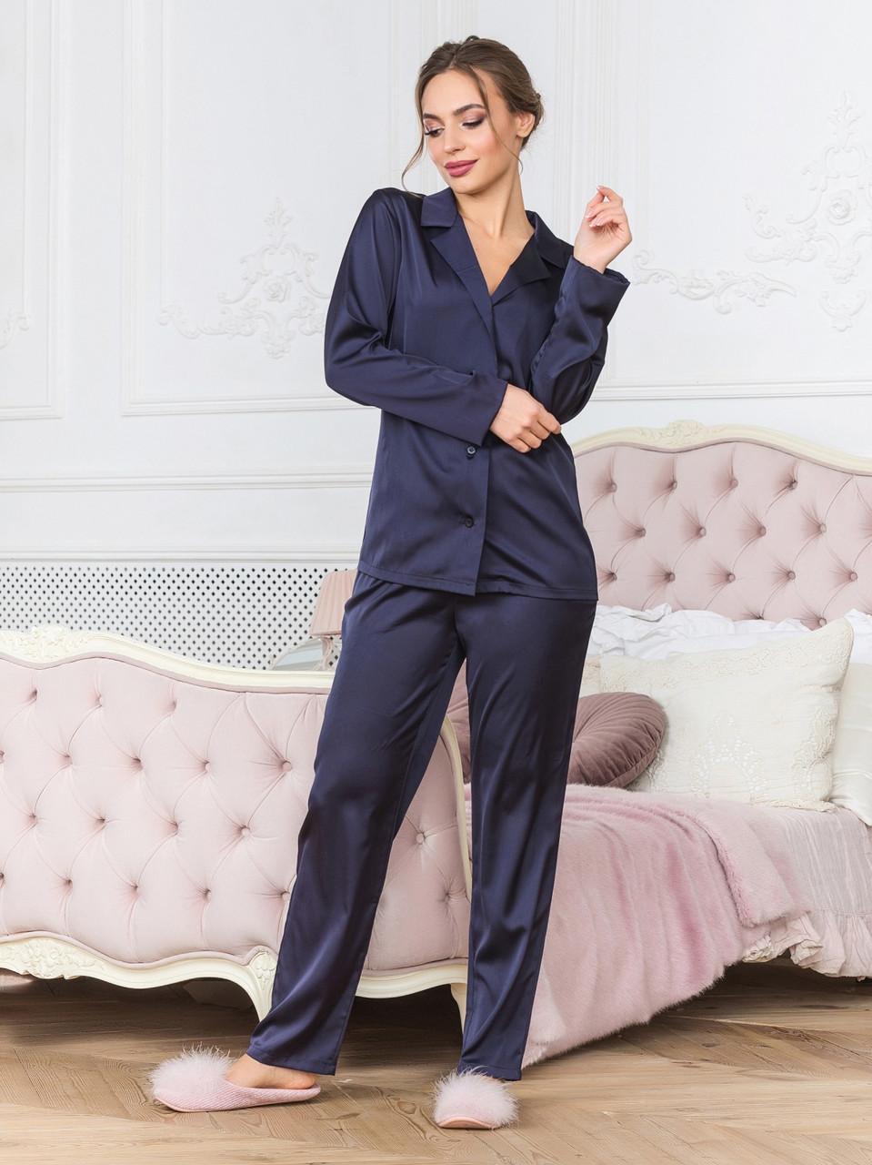 Піжама з довгими штанами синя з шовку Армані