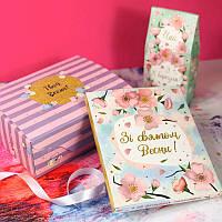 Подарочный набор Зі святом весни шоколад и чай 2в1, фото 1