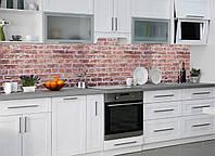 Кухонный фартук Красный кирпич 02 (кирпичная кладка самоклеющаяся виниловая пленка для кухни) 600*2500 мм
