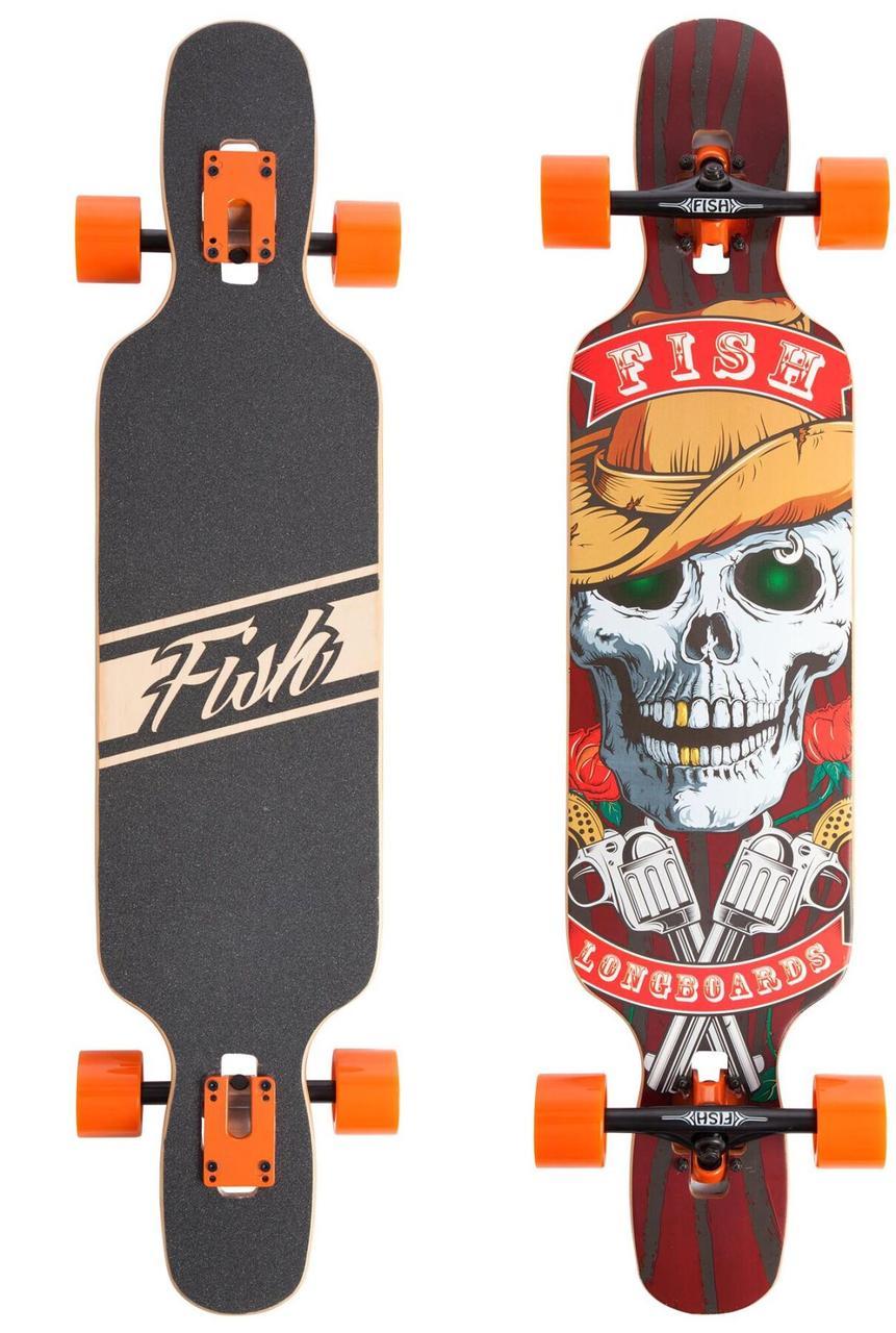 "Лонгборд Fish Skateboards 38"" - Skull & Rose (ln122)"
