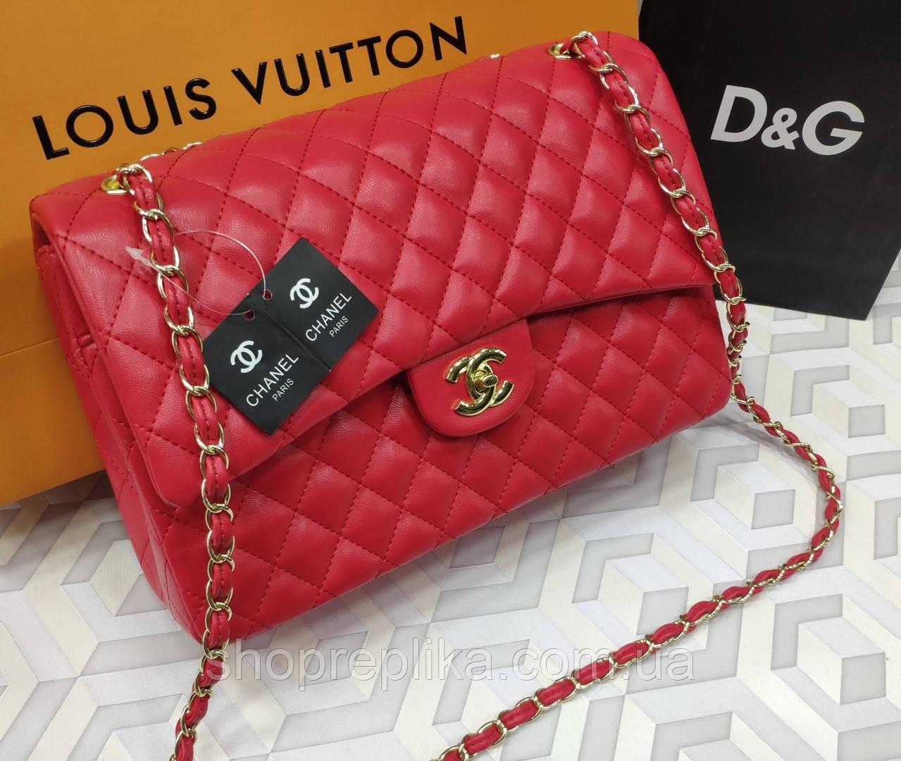 Большая сумка женская кросс боди брендовая в красном 30см