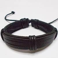 Браслет фенечка кожаный чёрный на затяжке., фото 1