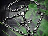 Серебряная цепочка с крестом и камнями оникс, фото 3