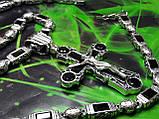 Серебряная цепочка с крестом и камнями оникс, фото 7