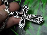 Серебряная цепочка с крестом и камнями оникс, фото 10