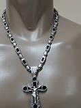 Серебряная цепочка с крестом и камнями оникс, фото 2