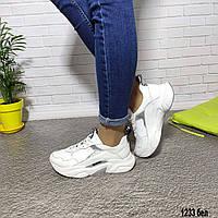 Женские белые кожаные кроссовки, фото 1