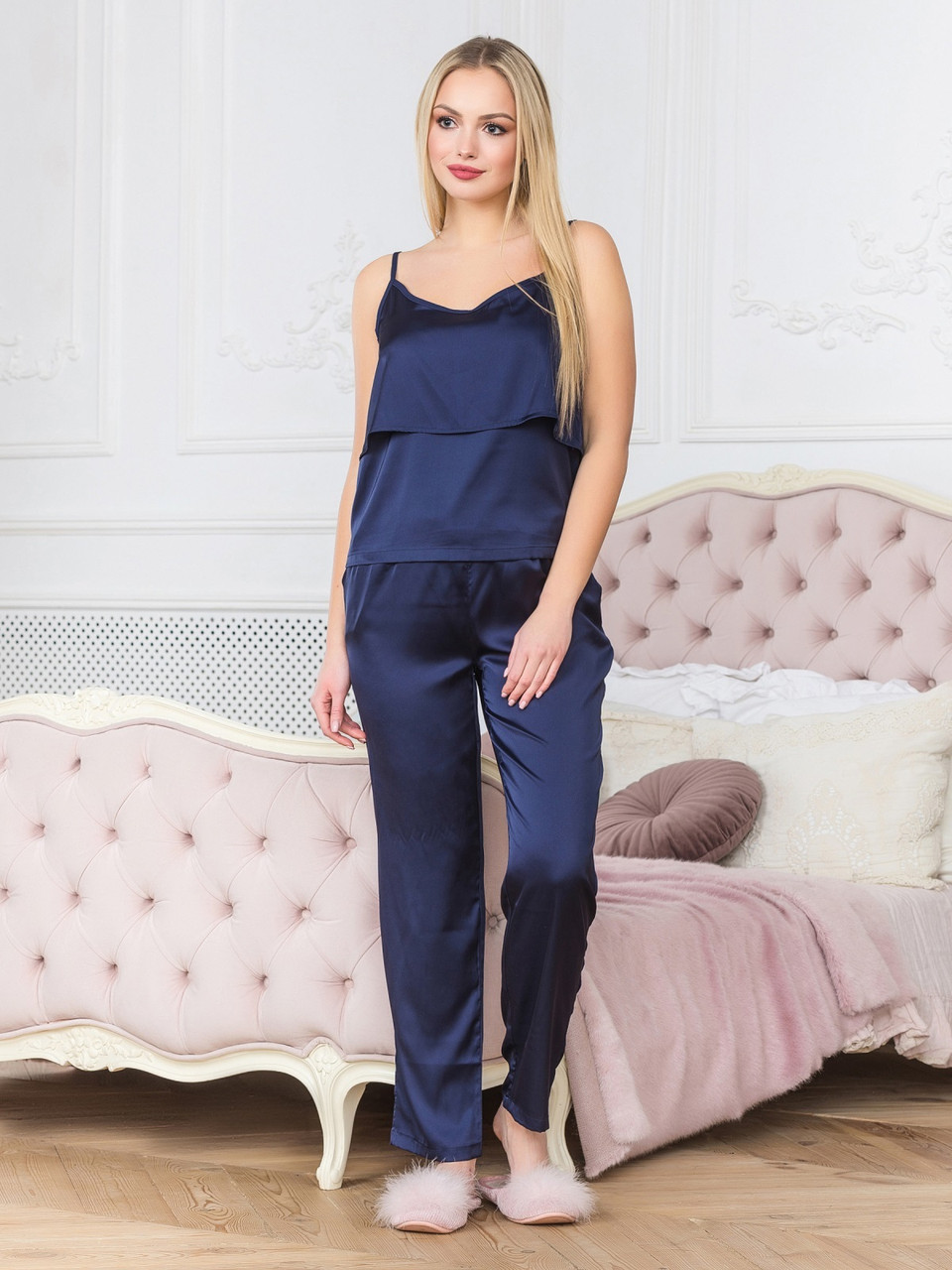 Пижама со штанами женская из шелка синяя