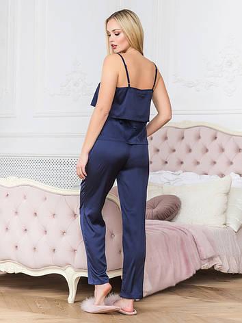 Пижама со штанами женская из шелка синяя, фото 2
