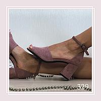 Женские босоножки на маленьком устойчивом каблуке, темная пудра замша, фото 1