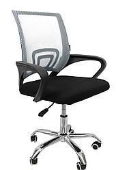 Офисное кресло компьютерное с каучуковыми колесами компьютерный стул офисный с вентилируемой спинкой серый