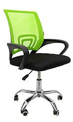 Офисное кресло компьютерное с вентилируемой спинкой мягкий офисный стул на колесиках зеленый