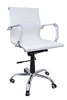 Офисное кожаное кресло компьютерное Bonro до 120 кг для детей подростков и взрослых Белое