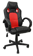 Кресло игровое геймерское экокожа с подголовником для правильной осанки красное до 120 кг