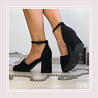 Женские босоножки на низком устойчивом каблуке, черная замша, фото 1