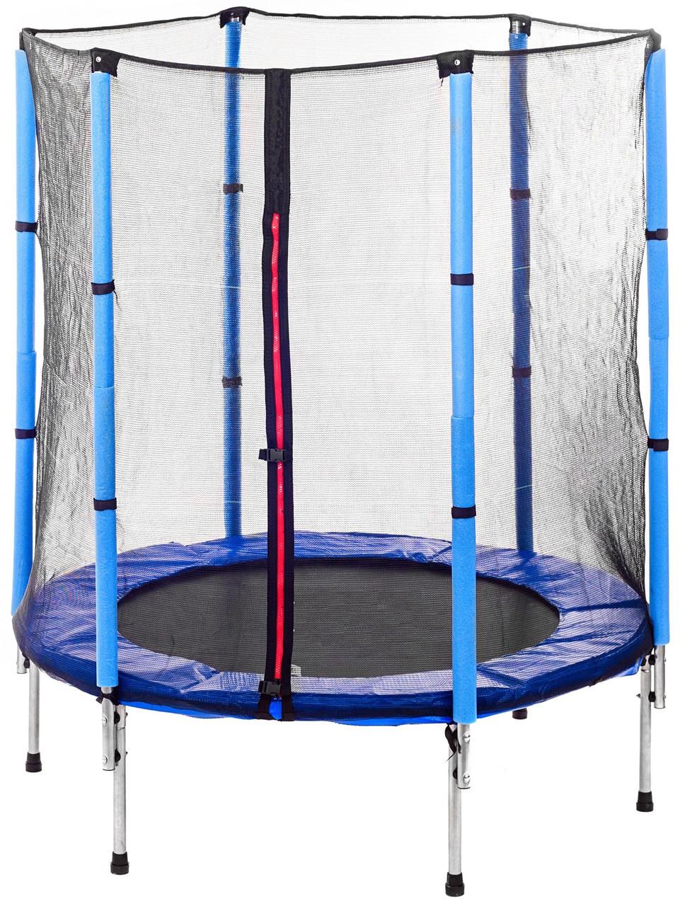 Высококачественный 140 см батут спортивный игровой  с сеткой для детей до 45 кг синий