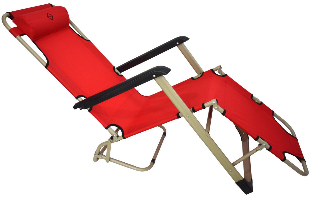 Шезлонг лежак стальной прочный садовое кресло на 180 см с подголовником нагрузкой до 100 кг красный