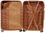 Стильный чемодан дорожный из поликарбоната с кодовым замком 8 прочных колеса маленький красный, фото 3