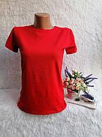Футболка молодежная для девушек коттоновая однотонная размер 46-50, красного цвета, фото 1