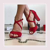 Женские босоножки на среднем устойчивом каблуке,красная замша, крест-на-крест, фото 1