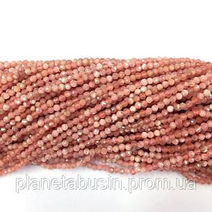 3 мм Родохрозит , Натуральный камень, Форма: Граненый Шар, Длина: 40 см, фото 2
