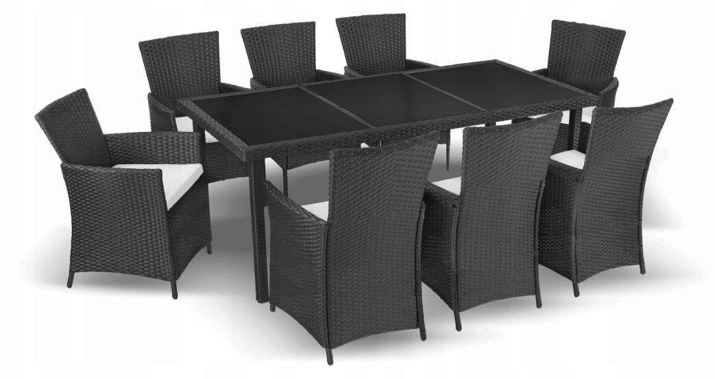 Комплект мебели из техноротанга BAHAMA SET MAX (темное стекло 8 стульев)