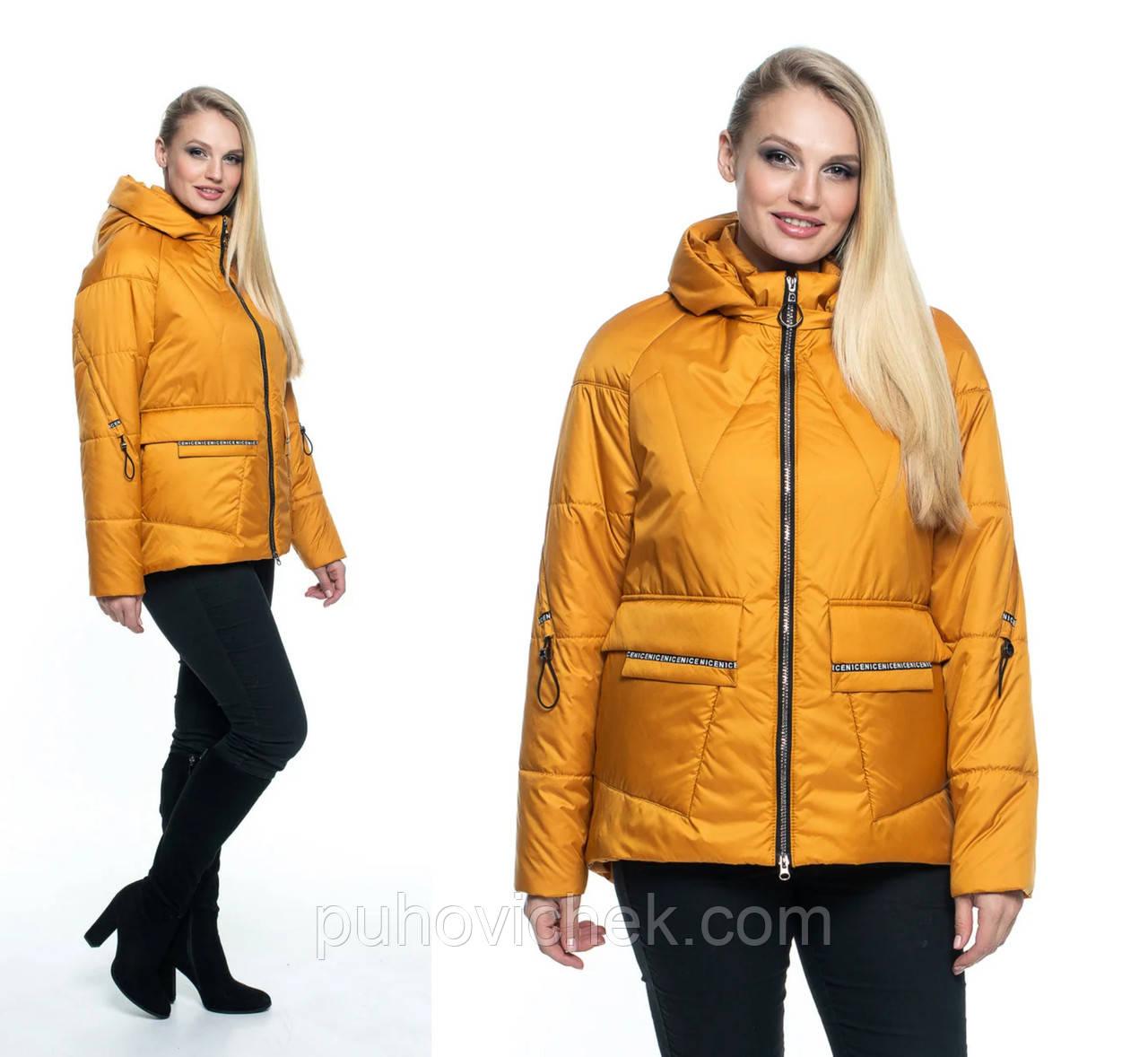 Женская куртка демисезоная с капюшоном размеры 44-56