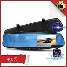 Автомобильный видеорегистратор (авторегистратор зеркало заднего вида) DVR 138EH (2 камеры), фото 2