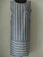 Сарафан из льна в полоску прямого кроя с нагрудным карманом большого размера, р.54,56 код 2002М, фото 1