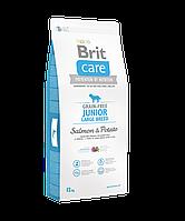 Сухой беззерновой корм Brit Care Junior для молодых собак крупных пород, с лососем  12КГ