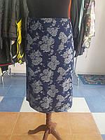 Юбка джинсовая синяя  в цветы батальных размеров Grandua, фото 1