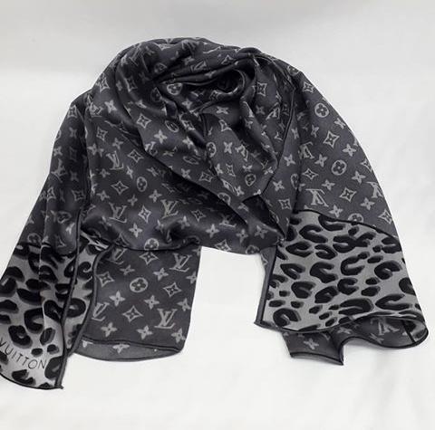 Шарф палантин женский брендовый LOUIS VUITTON. Леопардовый принт