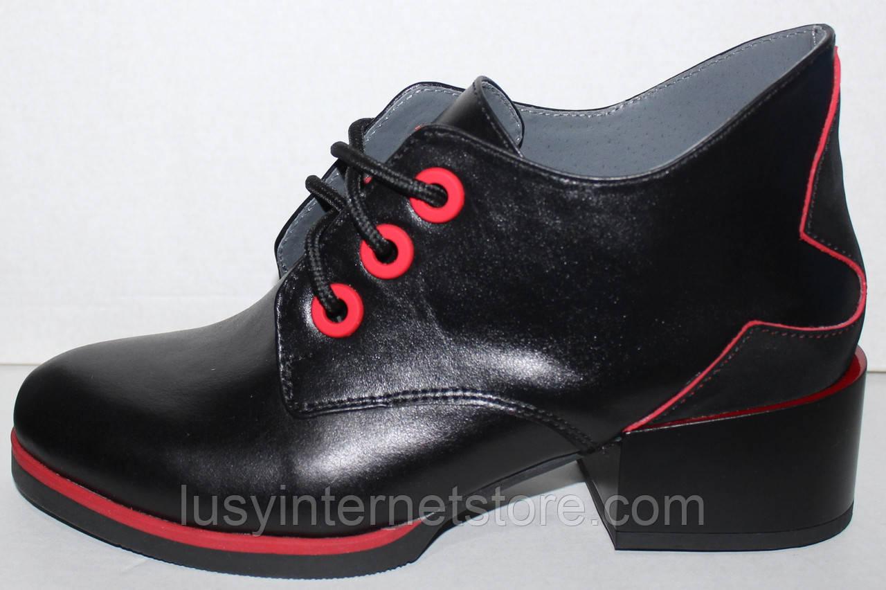 Ботинки женские демисезонные кожаные на каблуке от производителя модель РИ7-42