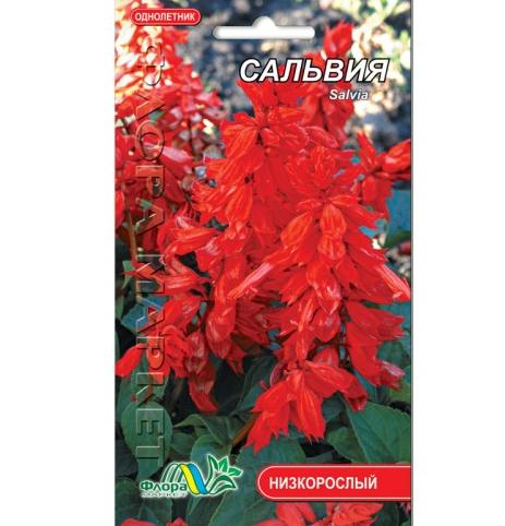 Сальвия красная цветы однолетние, семена 0.3 г