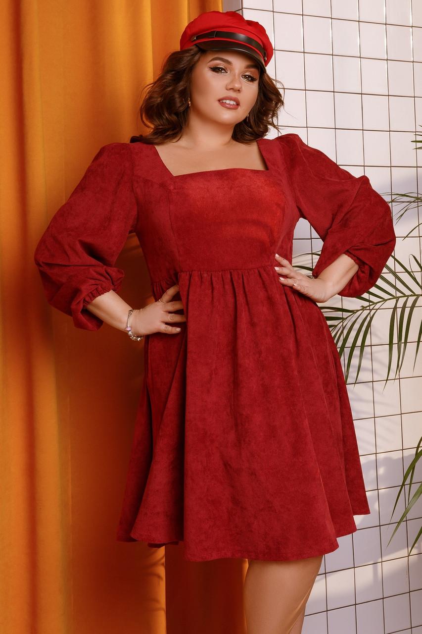 Женское вельветовое платье большого размера.Размеры:48-58.+Цвета