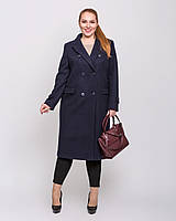 Женское пальто макси двубортное цвет синий рр 44-54