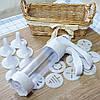 Кондитерский шприц с насадками Cookie Press YL-147 (18 насадок) кулинарный пресс для крема начинки печенья, фото 4