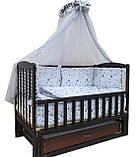 """Акция! Кроватка маятник """"Малыш Люкс"""" с ящиком венге, матрас кокос, постельный набор 8 эл., фото 5"""