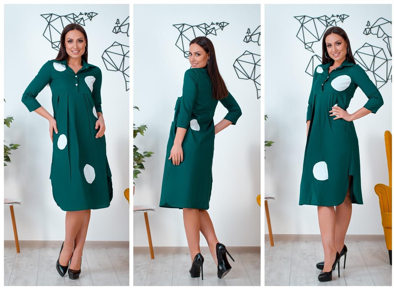 Женское платье свободного кроя с карманами и разрезами 46-48, 50-52, 54-56, 58-60