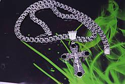 Серебряная цепочка Бисмарк с крестом