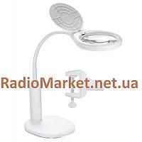 Лупа-лампа NO.TJ108C настольная с USB зарядкой, 2,5Х диам-108мм+ 6Х диам-21мм, фото 1