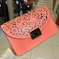 Купить кожаную итальянскую сумку , Итальянские кожаные сумки в стиле Фурла Коралловый, фото 1