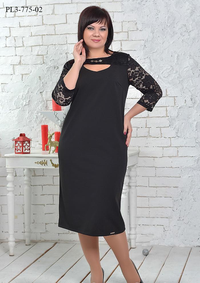 / Размер 50,52,54,56,60 / Женское платье из плотной костюмки с кокеткой / цвет черный
