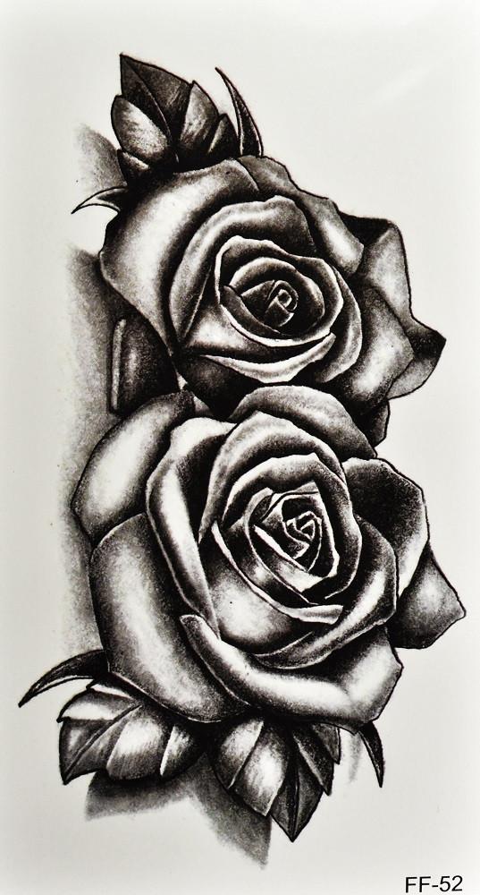 Временная тату 3D Розы (FF-52, 17,5x9,5 см)