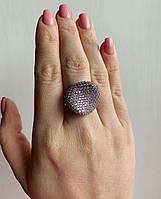 Серебряное стильное кольцо Вогнутая полусфера с нежно-розовым кубическим цирконием