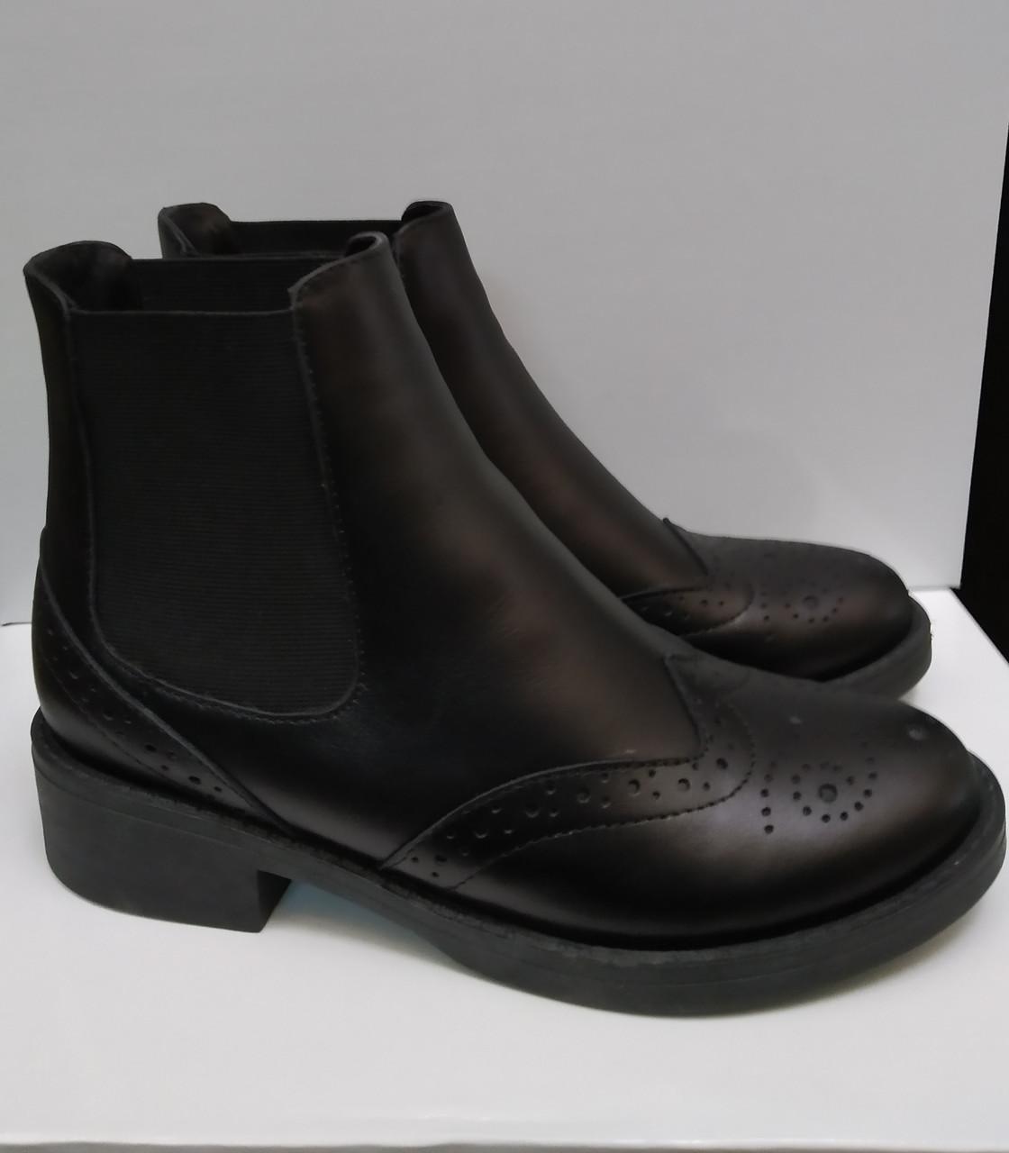 Женские ботинки демисезонные кожаные черные на резинке