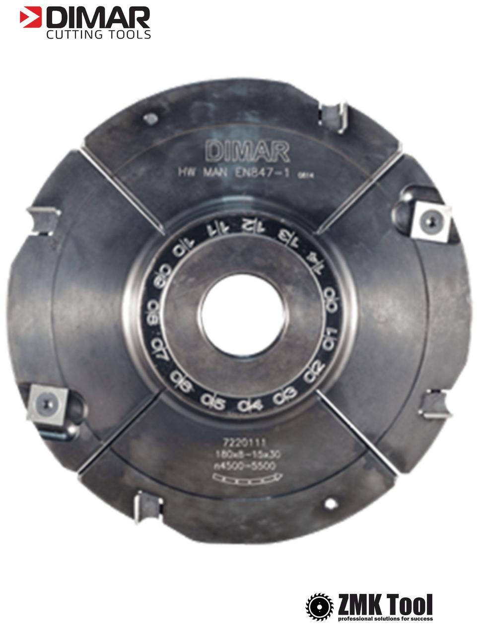 Фреза насадная DIMAR для пазування с возможностью регулировки 4.0-7.5 мм D=160 d=30 B=4.0-7.5 Z8+4